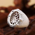 <b>Art</b> <b>Deco</b> 925 Sterling Silver 14x18mm Oval Cabochon Semi Mount Ring Setting Engagement Wedding <b>Jewelry</b> Setting