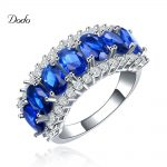 <b>Antique</b> vintage crystal <b>jewelry</b> ring White gold color blue stone crown rings for women cooktail wedding dress anillos anel DR132