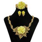 2018 Sales New Yellow Rose Crystal <b>Accessories</b> Dubai Africa Golden Necklace <b>Jewelry</b> Sets Fashion Wedding Party Women <b>Jewelry</b>