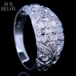 HELON ART DECO VINTAGE <b>ANTIQUE</b> PAVE NATRAL DIAMONDS WEDDING ETERNITY BAND RING 925 SOLID SILVER FASHION <b>JEWELRY</b> RING