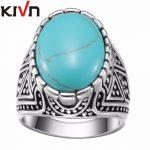 KIVN Fashion <b>Jewelry</b> Boho Blue Stone Indian <b>Antique</b> Vintage Womens Girls Wedding Bridal Engagement Rings Mothers Birthday Gifts