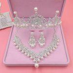 TREAZY Luxury Imitate Pearl Crystal Wedding <b>Jewelry</b> Set Necklace +Earrings +Crown Tiara Bridal <b>Jewelry</b> Set Women <b>Accessories</b>