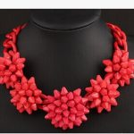Red Shourouk necklace Kpop Designer brand luxury <b>jewelry</b> exaggerated chunky big flower Women wedding <b>accessories</b> wholesale/gift