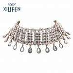Sangdo Luxury Crystal Waterdrop Pendant Choker Necklace Women Accessories <b>Jewelry</b> N4433 <b>Antique</b> Gold