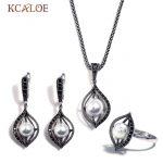 KCALOE Vintage Silver Color Ladies Jewellery Sets Imitation Pearl <b>Jewelry</b> Set For Women Black Rhinestone Wedding <b>Accessories</b>