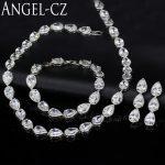 ANGELCZ Gorgeous Tear Drop CZ Diamante <b>Jewelry</b> Classic Style Wedding Necklace Earrings Bracelet Set For Bridal <b>Accessories</b> AJ048