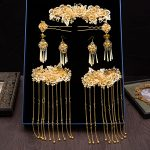 Handmade Tassel Bride Headdress Vintage Hair <b>Accessories</b> Wedding Bridal Gold Color Chinese Style Ancient <b>Jewelry</b> Set Hair Sticks