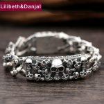 925 <b>Sterling</b> <b>Silver</b> Friendship Bracelet Men <b>Jewelry</b> 20mm Wide Skull Bangle Bracelet Women Gift Fine <b>Jewelry</b> 2017 B17