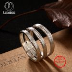 S925 sterling silver Thai hand-drawn lines three ring opening ladies wild <b>Antique</b> Silver Ring <b>Jewelry</b> Gift