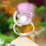 100% S925 Pure Sterling silver Adjustable Ring Blank Fit 11/12MM Setting Tray Bead <b>Antique</b> Silver