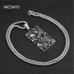 MCSAYS Hiphop <b>Jewelry</b> Dragon God Square Pendant Box Chain Chinese Ancient Myth Figure Amulet Necklace Mens Fashion <b>Accessory</b> 4HP