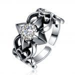 Hemiston Luxury <b>Antique</b> 100% 925 Sterling Silver Vintage Hollow Flower Zircon Resizable for Women <b>Jewelry</b> SVR261