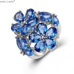 2017 Trendy Charm Huge Flower <b>Jewelry</b> with Blue Stone 925 Sterling Silver Ring for women BALL GOWN <b>Accessories</b>