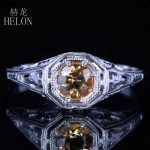HELON Solid 10K White Gold 4.5mm Round Genuine Citrine Engrave Vintage Engagement Wedding Ring Women's <b>Art</b> <b>Deco</b> <b>Jewelry</b> Ring