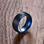 Mprainbow Men Rings Tungsten Carbide Wedding Band Black Matte Blue Step Edges Male anillos Fashion <b>Jewelry</b> <b>Accessories</b> bague