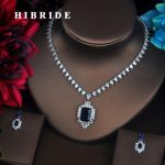 HIBRIDE Clear Sparkly Blue Cubic Zirconia Small <b>Jewelry</b> Sets For Women Bride Necklace Set Wedding Bride Dress <b>Accessories</b> N-376