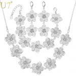 U7 Big Flower <b>Jewelry</b> Set For Women Wedding <b>Accessories</b> Trendy Wedding <b>Jewelry</b> Sets For Brides S689