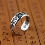 Thai silver wholesale S925 sterling silver ring <b>antique</b> crafts lovers six words <b>jewelry</b> Buddhist text