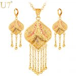 U7 Gold Color <b>Jewelry</b> Set Wedding <b>Accessories</b> Indian Trendy Tassels Party Long Earrings Necklace Set For Women Gift S632