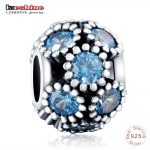 LZESHINE <b>Antique</b> 925 Sterling Silver Blue CZ Studded Lights Charms Beads fit Original Bracelets <b>Jewelry</b> Accessories PSMB0834