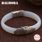 BALMORA 925 Sterling Silver Chalcedony Bangles for Women Mother Gift about 18cm Bracelet Silver <b>Jewelry</b> <b>Accessories</b> MN50096