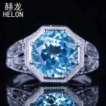 10mm Round Sky Blue Topaz Ring Setting Antique Filigree 925 Sterling Silver Wedding Fine Ring <b>Art</b> <b>Deco</b> Vintage Style <b>Jewelry</b>