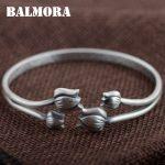BALMORA 999 Pure Silver Flower Open Bangles for Women Mother Gift about 17cm Bracelet Elegant Silver <b>Jewelry</b> <b>Accessories</b> SZ0357