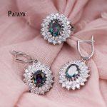 PATAYA Sunshine Indian <b>Jewelry</b> Sets Rainbow Round Zircon True White Gold Wedding <b>Accessories</b> Summer Bride Crystal Earrings Ring