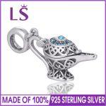 LS Silver Aladdin lamp Charm Legend Beads Fit Original Charm Bracelet <b>Antique</b> 925 Sterling Silver Fine <b>Jewelry</b>