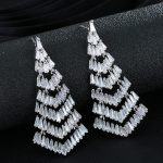 luxury Pave Zircon Long Earrings For Women Silver Color wedding Earrings <b>Jewelry</b> <b>Accessory</b> brincos Chirstmas Gift