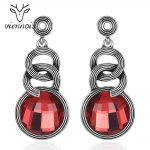 Viennois <b>Antique</b> Dangle Earrings for Women Vintage Silver Color Red Crystal Drop Earrings Female Retro Gothic <b>Jewelry</b>