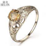 HELON Solid 10K Yellow Gold Art Deco <b>Antique</b> Round 5.5mm 100% Genuine Citrine Solitaire Engagement Wedding Trendy <b>Jewelry</b> Ring