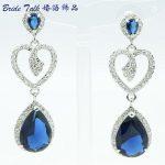 <b>Art</b> <b>Deco</b> Love Heart Earrings For Womens Wedding <b>Jewelry</b> Blue Zircons Rhinestone Crystals 20653