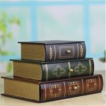 1 pcs <b>Antique</b> Book Design Wood Wooden <b>Jewelry</b> Box Classic 3 drawer 3-Stack Books Set Design