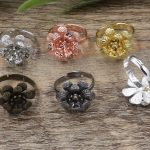 100pc 15*7mm Flower Pad ring blank Cameo Tray,<b>Antique</b> Bronze/Gold/Silver Ring setting,Handmade DIY Zakka <b>jewelry</b> Finding