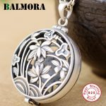 BALMORA Solid 925 Sterling Silver Hollow Flower Pendants for Women Retro Fashion <b>Jewelry</b> <b>Accessories</b> Without a Chain SY14139