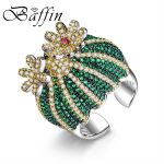 BAFFIN Cactus Ball Maxi Ring Party <b>Accessories</b> for Women Statement <b>Jewelry</b> Cocktail Ring High Quality Green Crystal From Austria