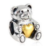Gold Heart Bear Hug Charms <b>Antique</b> 925 Sterling Silver Bead for Valentine's Bracelet <b>Jewelry</b>