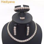 Fashion Cubic Zircon Wedding <b>Jewelry</b> Rose Set For Women Hot Selling Dress <b>Accessories</b> Crystal 4pcs Sets <b>Jewelry</b> CN516 Hadiyana