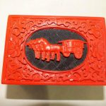Elaborate Chinese Flower Red Cinnabar Artificial Lacquer Resin <b>Jewelry</b> Box