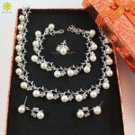 Women Bridal Wedding <b>Accessories</b> Crystal Necklace Earrings Silver Plated African Simulated Pearl Costume Beads <b>Jewelry</b> Sets