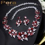 Pera CZ Red Jewellry <b>Accessories</b> Luxury Russian Wedding Big Cluster Flower Crystal Bridal Necklace And Earrings For Brides J124