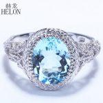HELON Flawless 2.34ct 10x8mm Oval Genuine Blue Topaz 14K 585 White Gold Engagement Wedding Ring Vintage <b>Art</b> <b>Deco</b> Style <b>Jewelry</b>