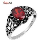 Szjinao Wholesale Fashion 925 Silver Ring <b>Antique</b> <b>Jewelry</b> Replica Victoria 1.1 ct Red Ruby Sterling Silver Ring Women