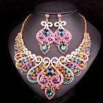 Fashion Indian Bridal <b>Jewelry</b> Sets Wedding Necklace Earring set For Brides bridesmaid Party <b>Accessories</b> Crystal Decoration women