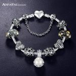 Promotion Sale <b>Antique</b> Silver Color Charm Bangle & Bracelet with Love Heart Pearl Charms for Women Wedding Bracelets <b>Jewelry</b>