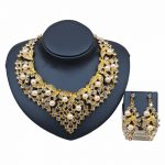 Dubai Pearl <b>Jewelry</b> Set For Women Statement Gold Color Nigerian Beads Necklace Earrings Set Bridal Dress <b>Accessories</b>