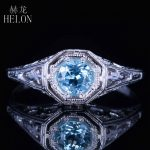 HELON Solid 14K White Gold 4.5mm Round Cut Sky Blue Topaz Ring Vintage Style Gemstone Fine Ring <b>Art</b> <b>Deco</b> Ring Women Fine <b>Jewelry</b>