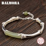 BALMORA 925 Sterling Silver Bamboo Bangles for Women Mother Lover Gift about 18cm Fashion Bracelet <b>Jewelry</b> <b>Accessories</b> TRS50972