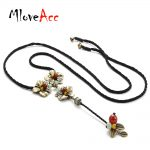 MloveAcc Brand Vintage Metal Flower Pendant Necklaces for Women Ethnic Stone Beads Charm Long Drop <b>Antique</b> Bronze Plated <b>jewelry</b>